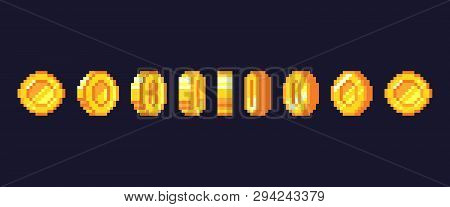 Pixel Game Coins Animation. Golden Pixelated Coin Animated Frames, Retro 16 Bit Pixels Gold And Vide