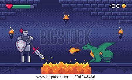 Pixel Art Game Level. Hero Warrior Fights 8 Bit Dragon, Pixels Video Games Levels Scene Landscape An