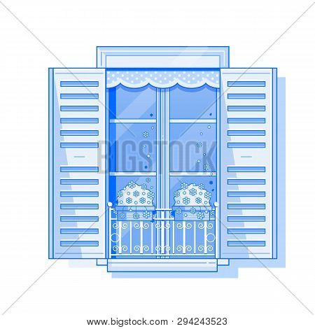Traditional Europe Window With Shutters And Flowers In Pots. Vintage Shuttered Window Icon In Line A