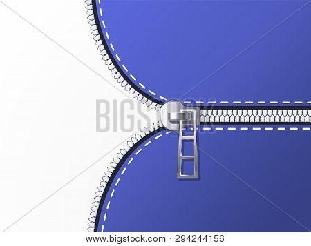 Unzip Background. Unlock Zipper, Open Clothing Zip And Unbutton Clasp Vector Backdrop Illustration