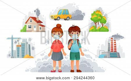 Children In N95 Masks. Dirty Environment Protection, Face Mask Protect From Street Smoke And Pm2. 5