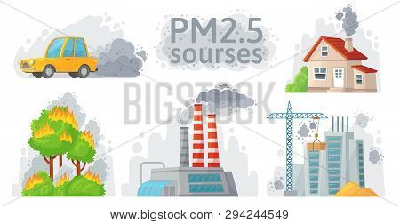 Air Pollution Source. Pm 2.5 Dust, Dirty Environment And Polluted Air Sources Infographic Vector Ill