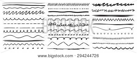 Hand Drawn Lines. Marker Line Divider, Handmade Pencil Strokes Brush And Drawing Dividers Vector Ele