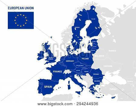 European Union Countries Map. Eu Member Country Names, Europe Land Location Maps Vector Illustration