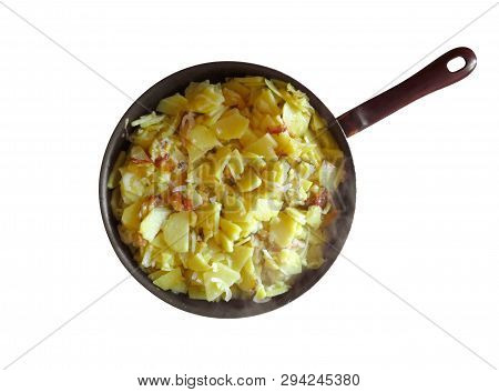 Frying Pan With Fried Potatoes Isolated On White Background. Clipping Path Included.