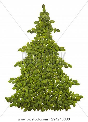 Spruce Made From Pumpkin Seeds Isolated On White. Clipping Path Included.