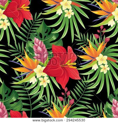 Rainforest Flowers Seamless Pattern. Tropical Flower Leaves, Tropic Jungle Plants And Exotic Floral