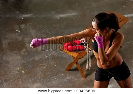 Girl Training Body Combat