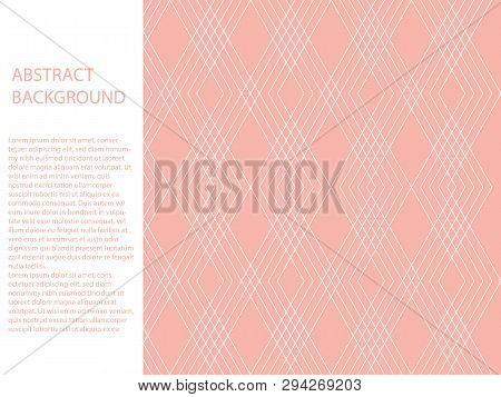 Beautiful Abstract White Triangle Polygon On Pastel Pink Background. Sweet Pink Abstract Background