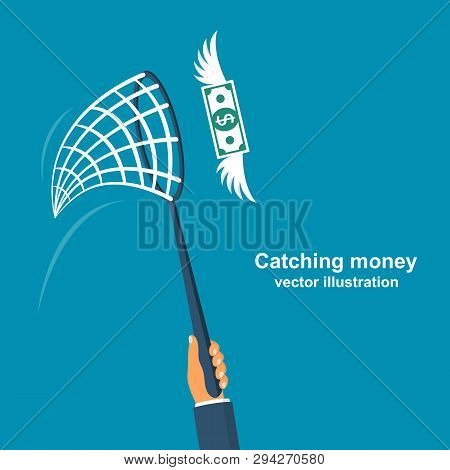 Chasing Money Concept. Businessman Trying To Catch Flying Money. Business Metaphor. Vector Illustrat