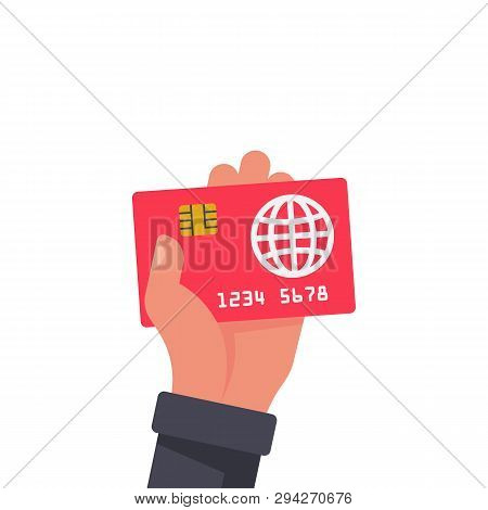 Credit Card Holding In Hand. Sign Paying. Money On Plastic. Payment Purchase By Credit Card. Finance