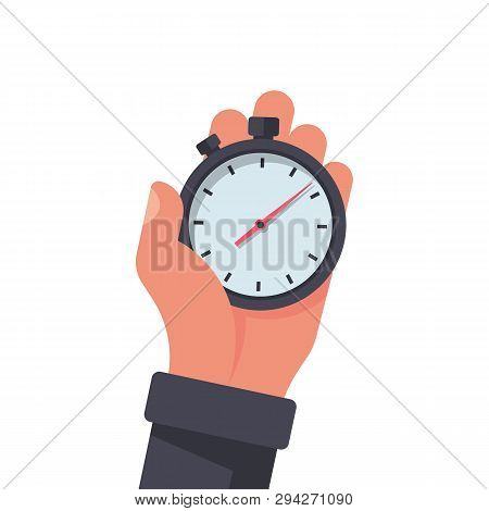 Stopwatch In Hand, Icon Isolated On White Background. Vector Illustration Flat Design. Sport Timer O