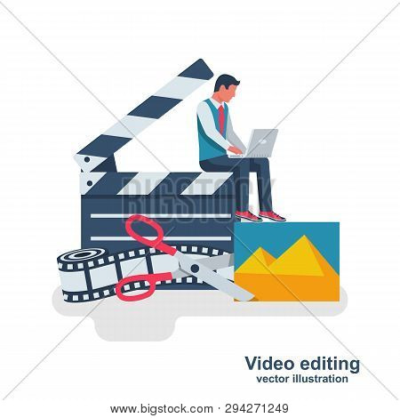 Video Editing. Multimedia Content. Footage Editing. Videographer With A Laptop Mounts Movie. Photo F