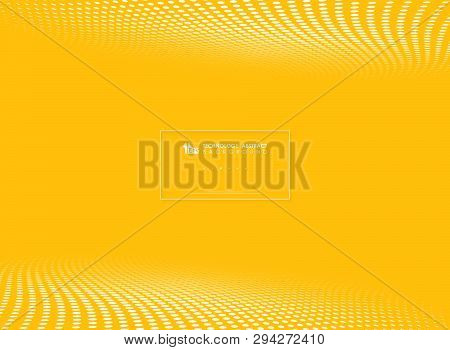 Modern Yellow Tech Circle Dots Pattern Halftone Background. You Can Use For Perspective Presentation