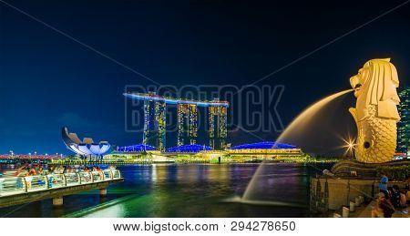 SINGAPORE CITY SINGAPORE: MARCH 2 2019: Singapore Merlion Park downtown Singapore  business district