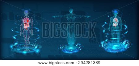 Human Body Low Poly Wireframe. Futuristic Scan Set, Human Hologram, Body X-ray, 3d Model In Hud Styl
