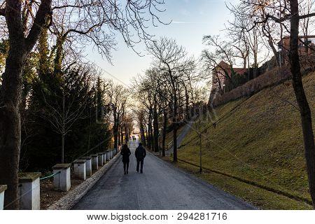 Graz,styria, Austria - 20.01.2019: Schlossberg Castle Mountain In Graz, People Walking Down The Hill