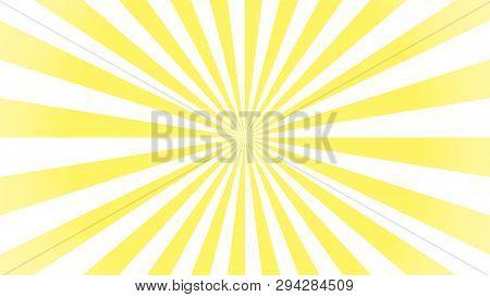Sunburst Pattern, Sunrise Background, Yellow Retro Round Lines - Vector Illustration. Sun Rays Backg