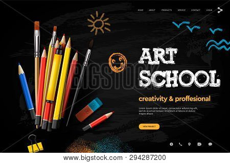 Web Page Design Template For Art School, Studio, Course, Creative Kids. Modern Design Vector Illustr