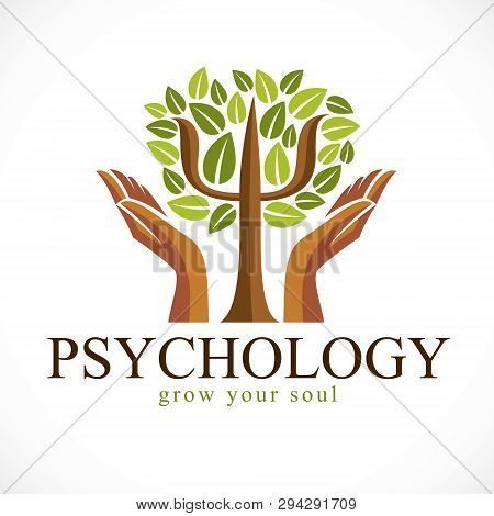 Psychology Concept Vector Logo Or Icon Created With Greek Psi Symbol As A Green Tree With Leaves And