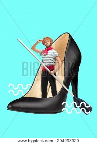 Boat Shoes. Conquest Of The Deep Sea. Male Sailor With The Paddle Inside Black Female Sandals On Blu