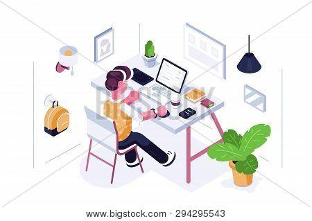 Man Working At Desk Vector Illustration. Boy