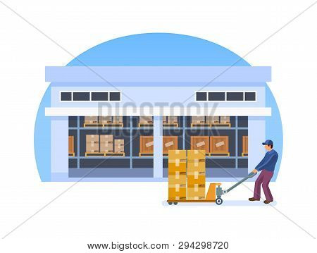 Warehouse Employee, Engaged Delivery Products, Sorting In The Logistic Warehouse.