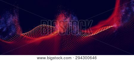 Abstract Red Geometrical Background . Connection Structure. Science Background. Futuristic Technolog