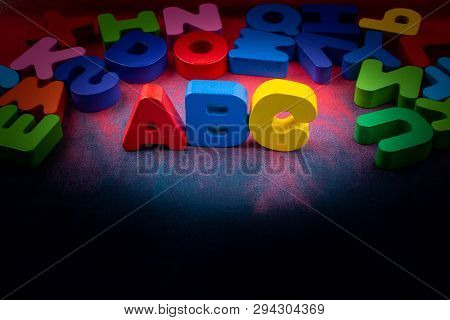 poster of Colorful ABC Letters of Alphabet made of wood