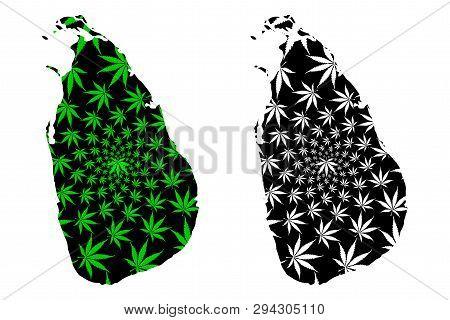 Sri Lanka - Map Is Designed Cannabis Leaf Green And Black, Democratic Socialist Republic Of Sri Lank