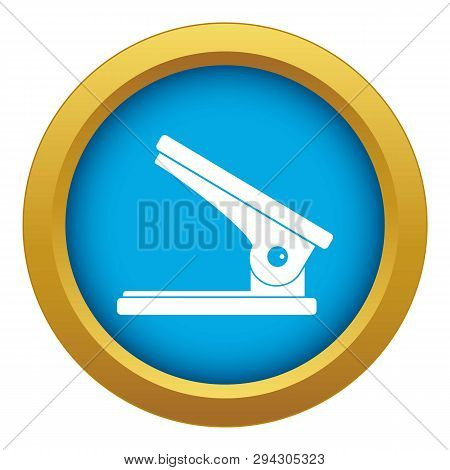 Office Paper Hole Puncher Icon Blue Vector Isolated On White Background For Any Design