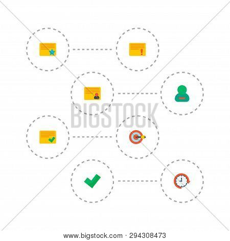Set Of Task Manager Icons Flat Style Symbols With Complete, Personal Task, Remove Member And Other I