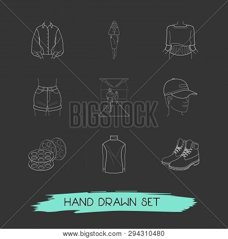 Set of garment icons line style symbols with runway, apparel, knitwear and other icons for your web mobile app logo design. poster