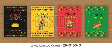 Set Of Cinco De Mayo Party Poster Template. Festive Vector Illustration With Native Pinata, Taco And