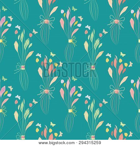 Delicate Pastel Colour Hand Drawn Bunches Of Flowers With Butterflies. Seamless Half Drop Vector Pat