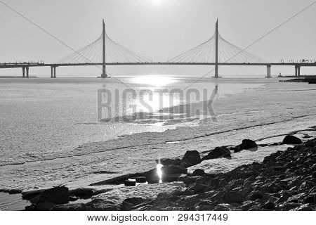 Cable bridge across the Petrovsky fairway in Saint Petersburg, Russia. Part of the Western high-speed diameter. Black and white. poster