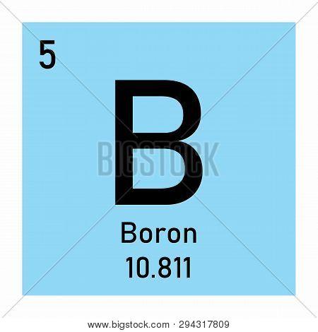 Periodic table element Boron icon on white background poster