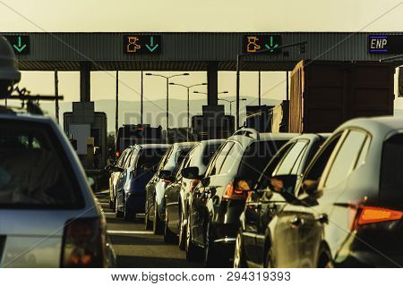 Cars And Trucks Waiting At Point Of Toll Highway - Toll Station Check Point Traffic Jam - Highway To