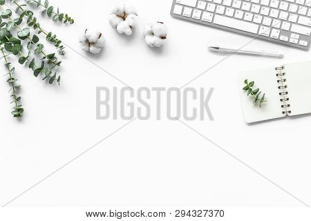 Laptop, Cotton Branch On White Table Flat Lay Space For Text. Minimal Freelancer Home Office Desk Wo