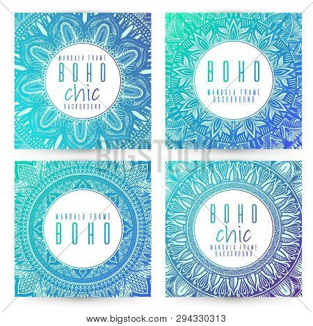Vector Vintage Mandala Card Set. Oriental Design Layout. Islam, Arabic, Indian, Ottoman Motifs. Fron