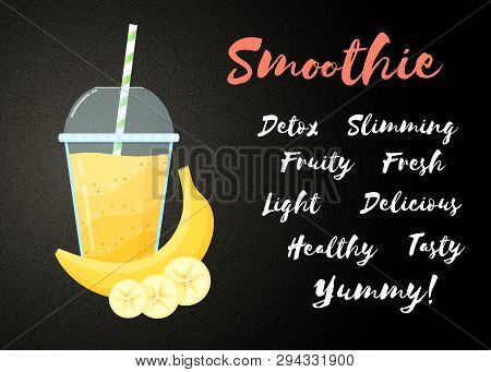 Yellow Banana Smoothie Vitamin Drink Vector Illustration. Tasty Natural Fruit, Straw And Glass With