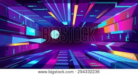 Night Metropolis Neon Colors Cartoon Vector Background With Futuristic Architecture Illuminated Skys