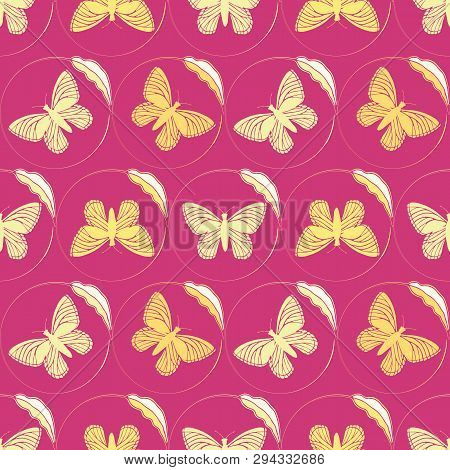 Golden Yellow Butterflies Framed By Delicate Single Leaf Circles. Seamless Hand Drawn Vector Pattern