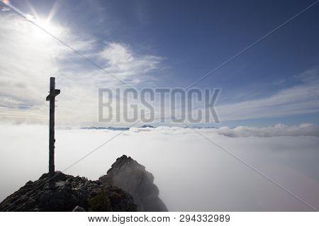 Summit Cross At Taubenstein Mountain, Bavaria, Germany