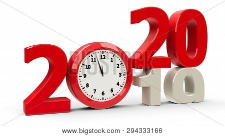 2019-2020 Change With Clock Dial Represents Coming New Year 2020, Three-dimensional Rendering, 3d Il