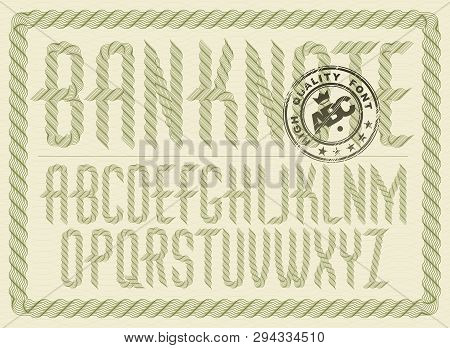 Vector upper case condensed English alphabet letters collection created with guilloche ornate, art ribbon. Can be used as graduation diploma design poster