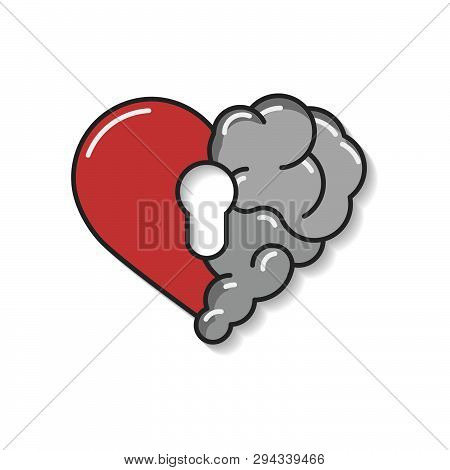 Emotional Brain Lock Security. Broken Heart And Brain With Key Hall Vector Flat Modern Icon Logo Vec