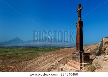Traditional Armenian Cross At Khor Virap Monastery In Armenia Close To Turkish Border, Armenia