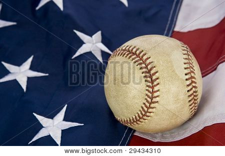 major league baseball with American flag