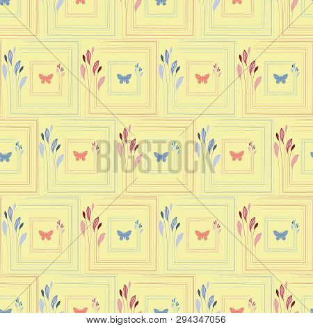 Delicate Coral And Blue Hand Drawn Butterflies In Elegant Floral Square Frames. Seamless Vector Patt